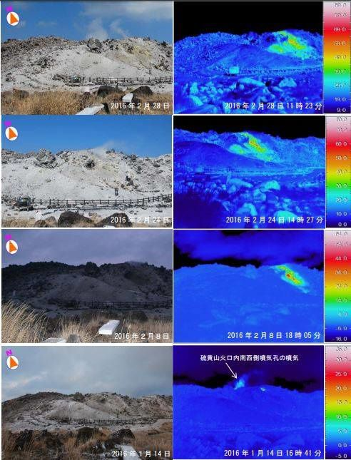 Surface temperature in the southwest of the crater of Kirishima Iozan between 01.14.2016 and 02.28.2016 - little change, but fumarolian activity confirmed - Doc. JMA
