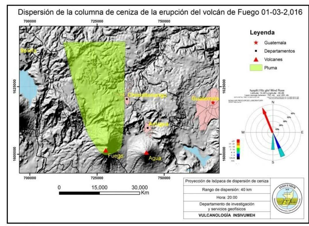 Fuego - ash dispersion area - 01/03/2016 - Doc. Conred