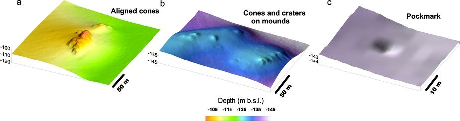 Retail of cones, craters, vents and pockmarks in the Banco della Montagna area - in Nature / Passaro et al. (Ref. In sources)