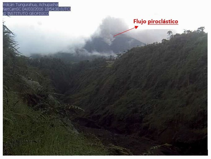 Tungurahua - 04.03.2016 / 18h54 UTC - Coulée pyroclastique - webcam IGEPN