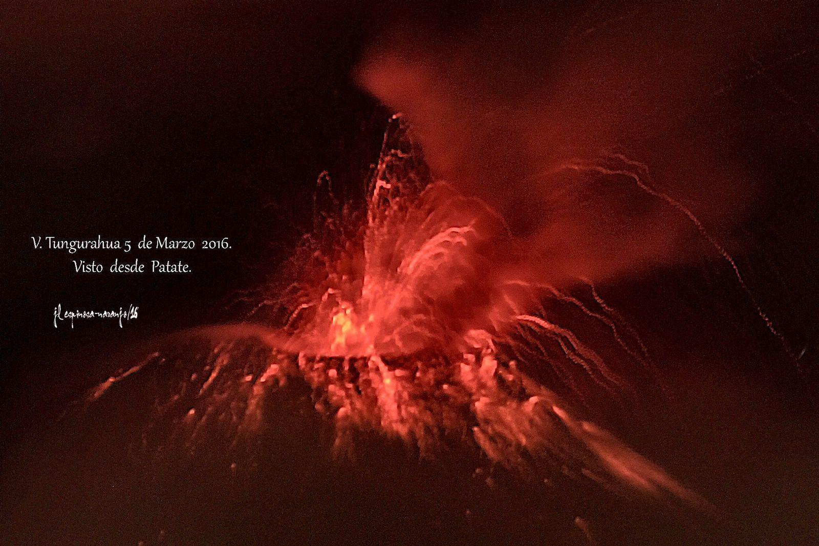 Tungurahua - strombolian activity 03.05.2016 / 9:47 p.m. - photo Jose Luis Espinosa-Naranjo from Patate