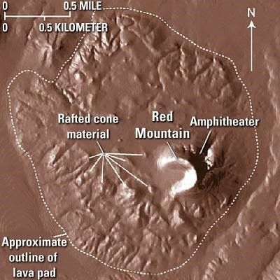 Digital model of Red Mountain, with details of the various structures - Doc.USGS