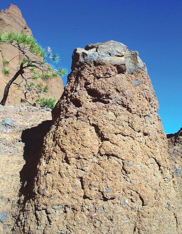 Red Mountain  - The boulder sombrero, capping each pinnacle, protects the underlying cinders from erosion. - photo USGS