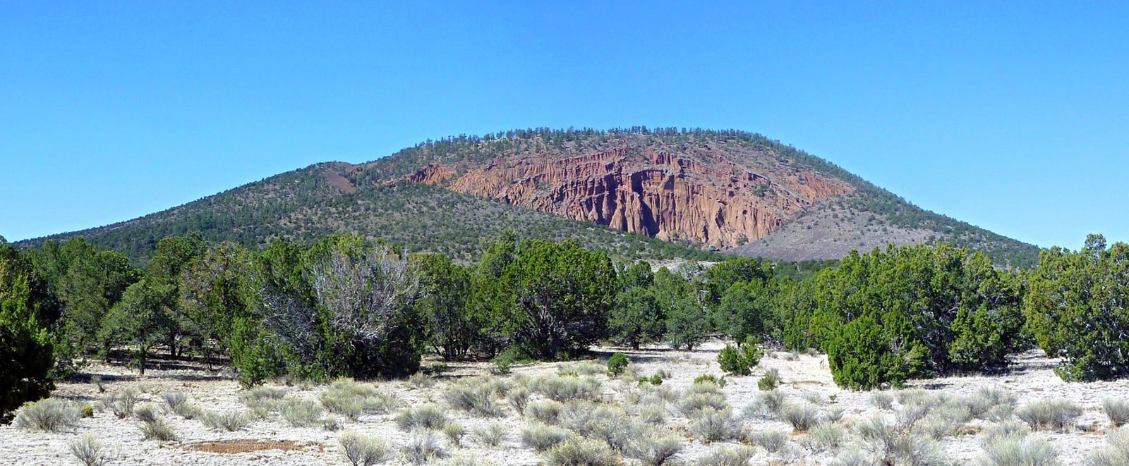 Red Mountain - a cinder cone dug by an amphitheater - a click to enlarge - photo Americansouthwest