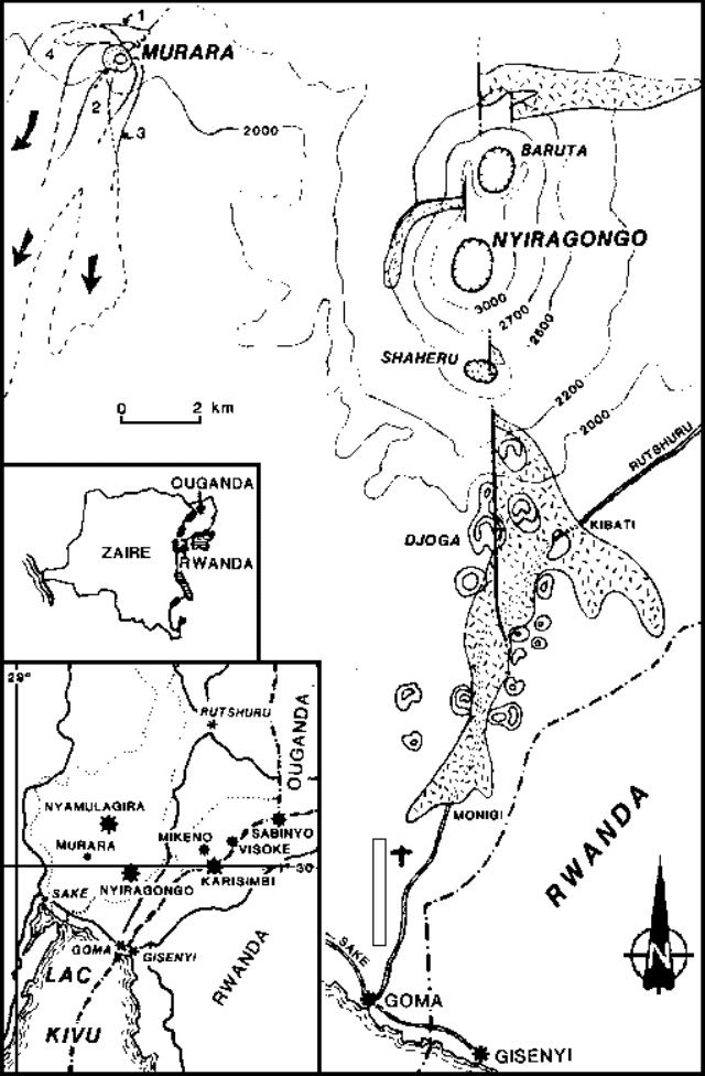 Location of Nyiragongo, the Baruta cone and the cone Shaheru on a 1977 document showing the lava flows towards Goma - according M.Krafft taken by Y.Pottier / in GVP