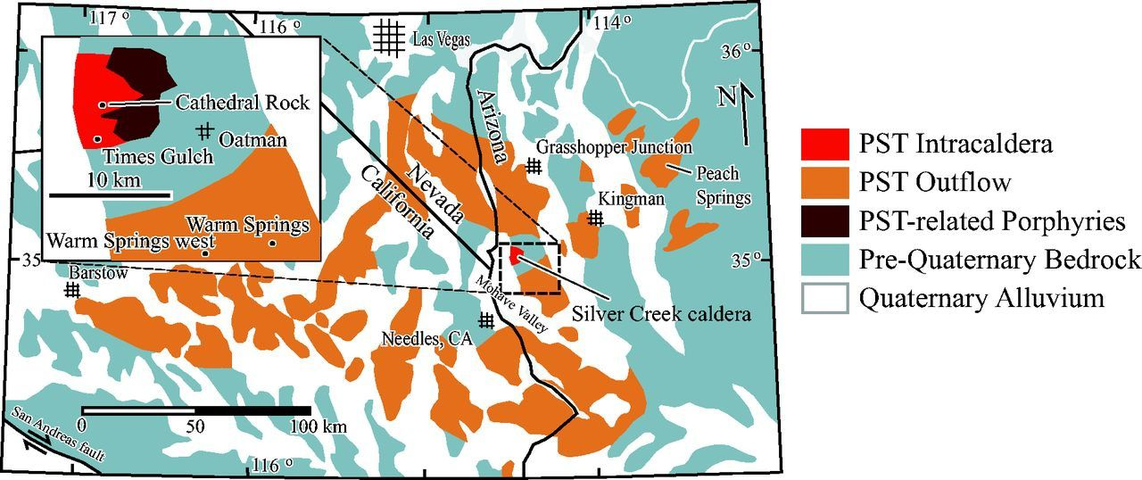 Localisation de Silver Creek caldera et zones de dépôts de Peach Spring Tuff (intra-caldeira en rouge et hors caldeira en orange) - modified from Wells & Hillhouse (1989).
