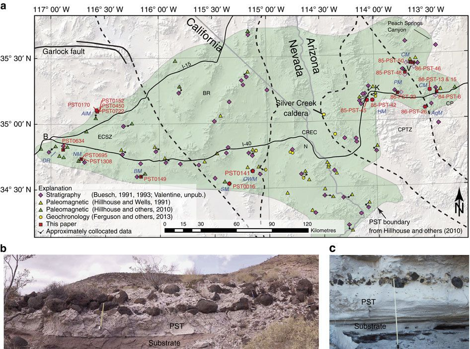 Map correlating Peach Spring tuff and Silver Creek Caldera, and photo of great lithic clasts near the base of Peach Spring Tuff to PST0695 location, Kane Wash area, Newberry Mountains, California / in Nature