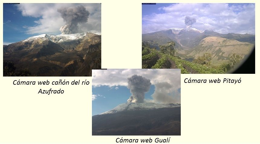 Nevado del Ruiz - explosions and plumes of 03/10/2016 seen by webcams of Observatory of Manizales, and variations of volcanic tremor - Doc.SGC Manizales