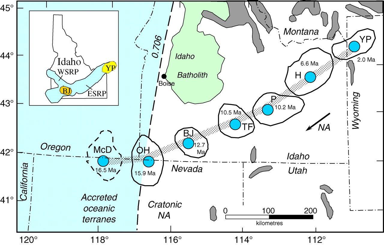 Les caldeiras laissées par le point chaud du Yellowstone au niveau de la SRP / Snake River Plain ... sans doute un document à préciser dans le futur - OH : Owyhee-Humboldt volc. field &#x3B; BJ : Bruneau-Jarbidge volc. field &#x3B; TF : Twin Falls volc. field &#x3B; P : Picabo volc.field &#x3B; H : Heise volc. field  &#x3B; YP : Yellowstone Plateau volc.field