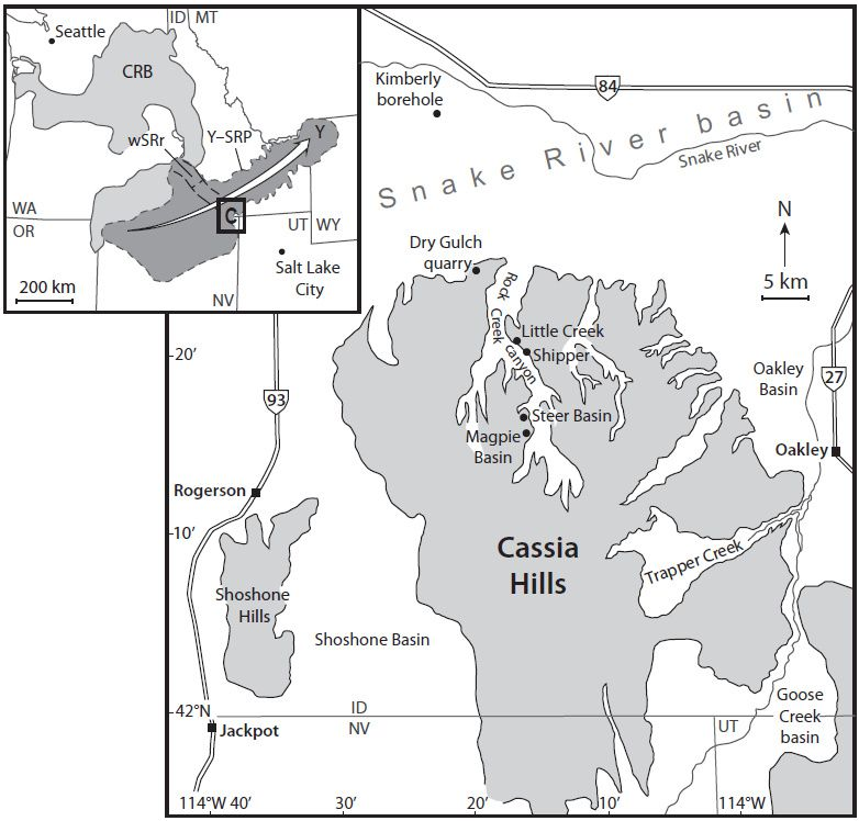 Map of the Cassia Hills in southern Idaho (C in inset) showing main canyons  and locations mentioned in the text. Gray—elevated terrain (main map) &#x3B; CRB—Columbia River basalts&#x3B; Y-SRP—Yellowstone–Snake River Plain volcanic province showing NE migration of the Yellowstone hotspot track (white arrow)&#x3B; Y—Yellowstone&#x3B; wSRr—western Snake River rift. State abbreviations in inset: ID—Idaho&#x3B; MT—Montana&#x3B; NV—Nevada&#x3B; UT—Utah&#x3B; WY—Wyoming&#x3B; WA—Washington&#x3B; OR—Oregon / Credit: GSA Bulletin and Thomas R. Knott et al. / Department of Geology, University of Leicester, LE1 7RH, UK.