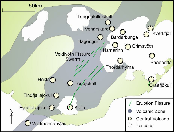 Location of Torfajökull in the EVZ / East volcanic zone in Iceland, between the Vatnajökull and Myrsdalsjökull