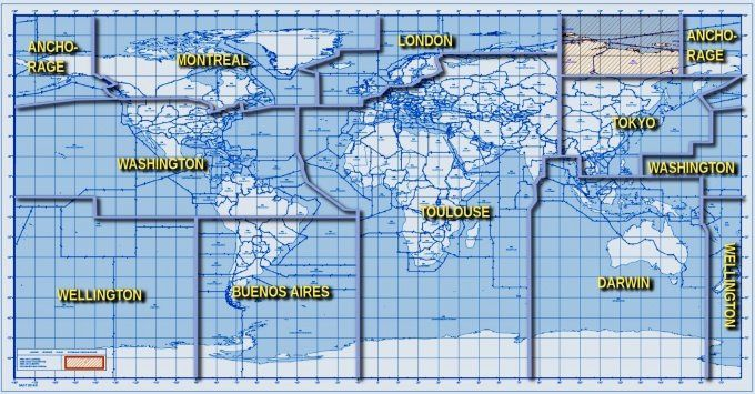 Zones couvertes par les neufs VAAC portant le nom de leur siège respectif - doc VAAC centers.