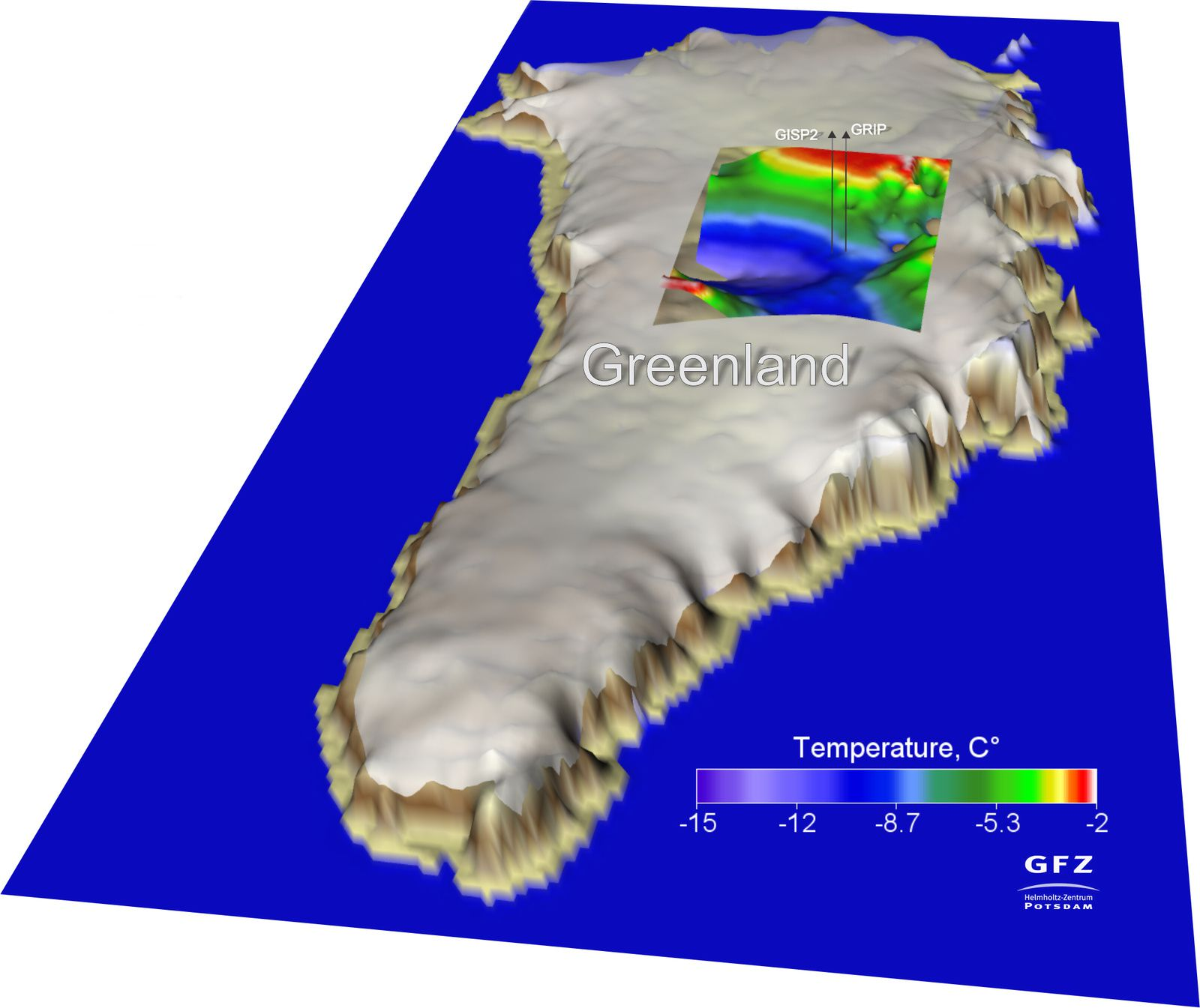 Basal model of temperatures of ice on the ice cap covering the summit region of Greenland - GRIP & GISP2 indicates drilling locations - Doc. A.Petrunin / GFZ