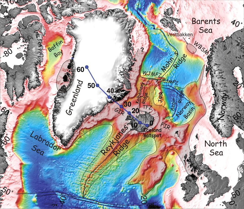 North Atlantic tectonic and position of the Icelandic mantle plume over time (according to one hypothesis) - doc. GSA pub