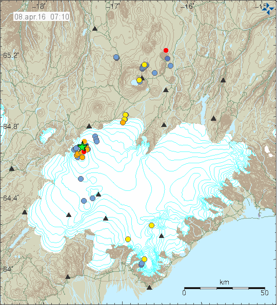 Vatnajökull /  Bárðarbunga - Localisation, time and magnitude of earthquakes   08 Apr 07:10 GMT