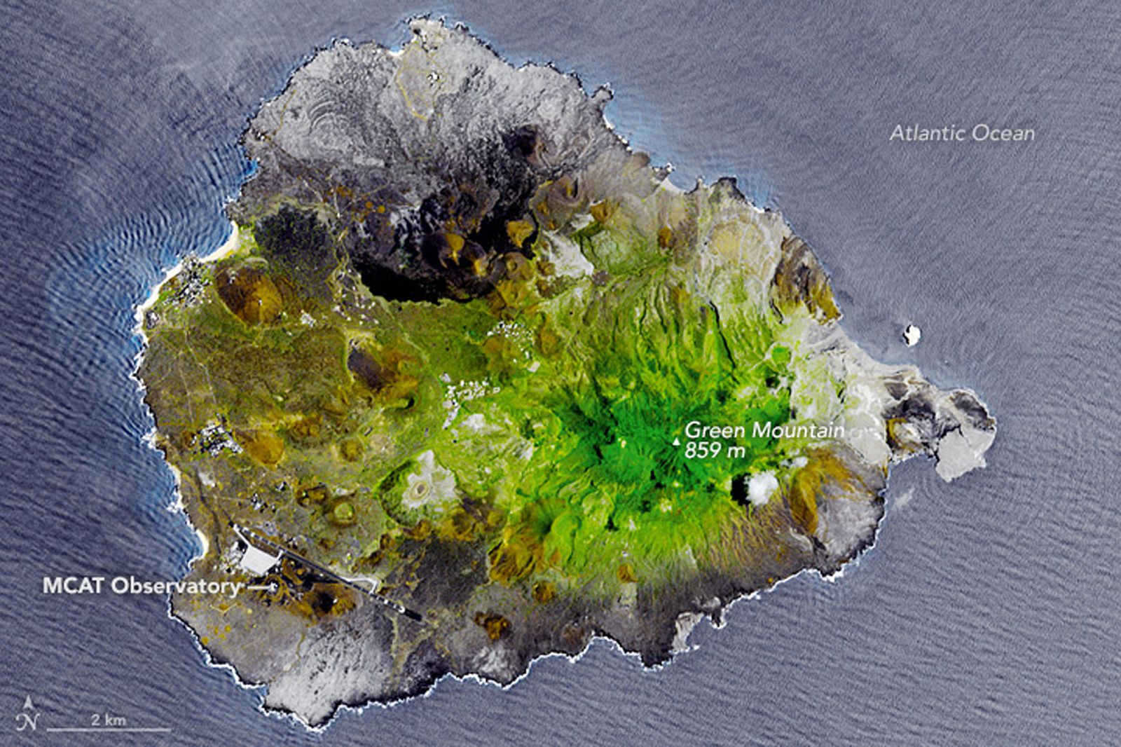 Ascension island  - 11.03.2010 - explications ci-dessous - photo NASA Earth Observatory image by Jesse Allen, using data from NASA/GSFC/METI/ERSDAC/JAROS, and U.S./Japan ASTER Science Team. Caption by Adam Voiland.