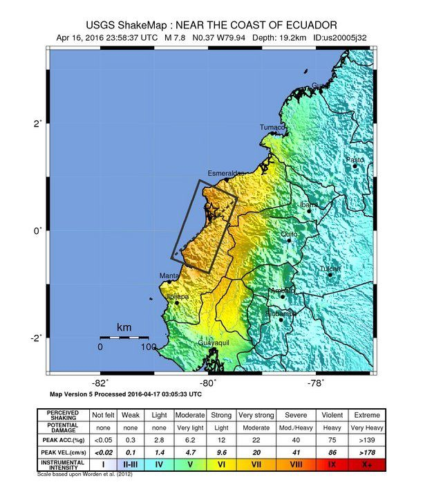 Séisme de Muisne / Equateur 16.04.2016 / 23h 58 UTC M 7.8 - doc USGS Earthquake Hazards reports