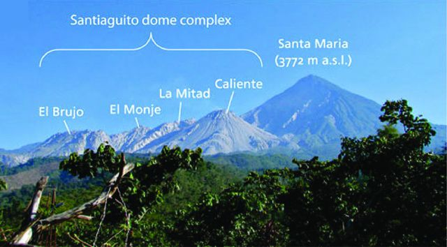 The Santa Maria volcano and tne complex of Santiaguito's domes - photo GVP
