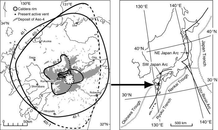 La caldeira Aso et les dépôts de rephra Aso-4 vis à vis de la localisation de Kumamoto et tectonique du sud Japon