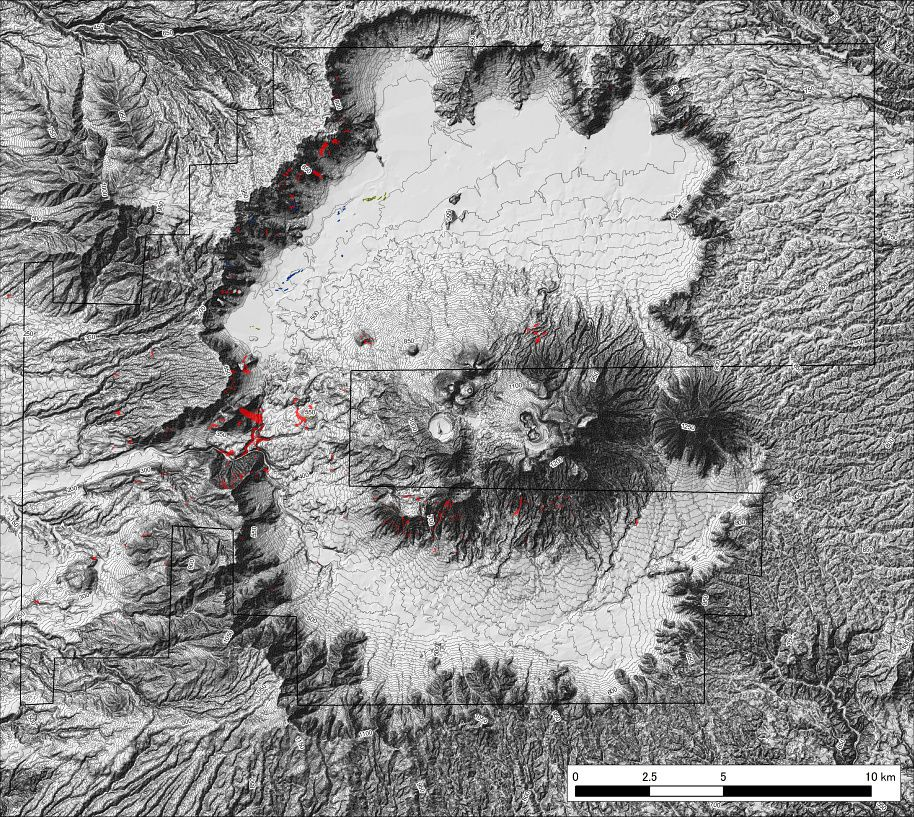 Landslides (in red) affecting the western parts of the caldera and southern parts of  Aso volcano - mapped by the team of Kyoto University DPRI