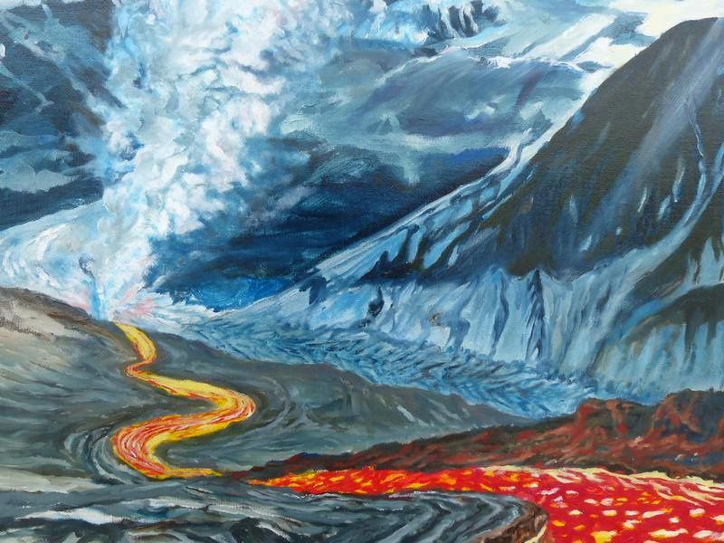 """Clash of the Titans in Iceland"" by Jocelyn Lardy - detail on the meeting between the lava and the glacier. - Photo © Jocelyn Lardy end of April 2016"
