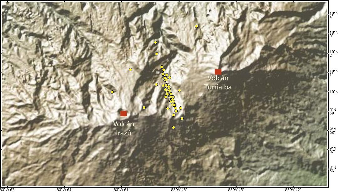 Seismic swarm of 23 and 24 April 2016 between the Turrialba and Irazu - Doc. Ovsicori