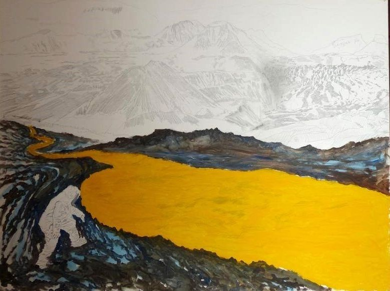 """Clash of the Titans in Iceland"" by Jocelyn Lardy - the pencil drawing, the first keys and the installation of the landscape in March 2016.- Photo © Jocelyn Lardy"