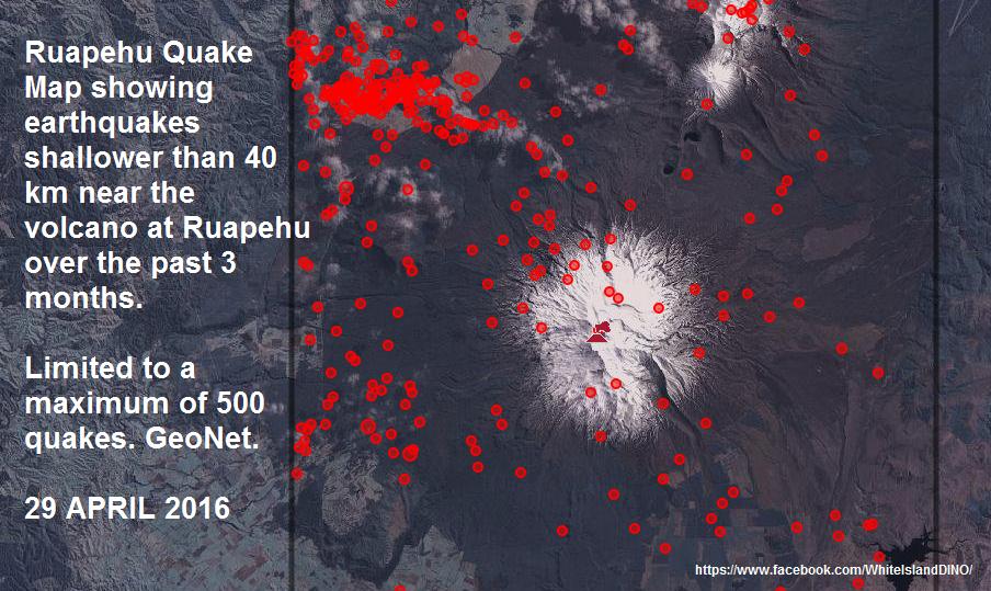 Ruapehu - 29.04.2016 - séismes au cours des trois derniers mois. - doc GeoNet