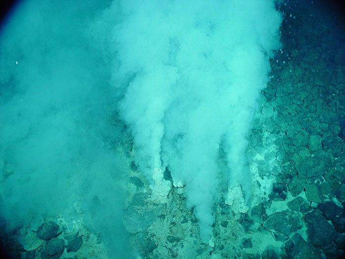 "Champagne vent field on the seamount Eifuku NW emits carbon dioxide liquid droplets in a geothermal vent area of a  ​​""white smoking"" - Image courtesy of Submarine Ring of Fire 2014 - Ironman, NOAA / PMEL, NSF."