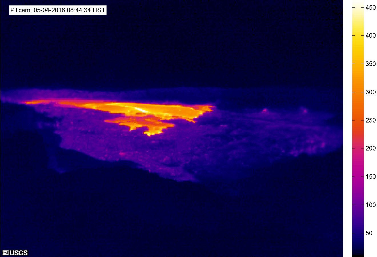 Pu'u O'o - webcam thermique du 05.05.2016 / 8h44 loc. - doc HVO