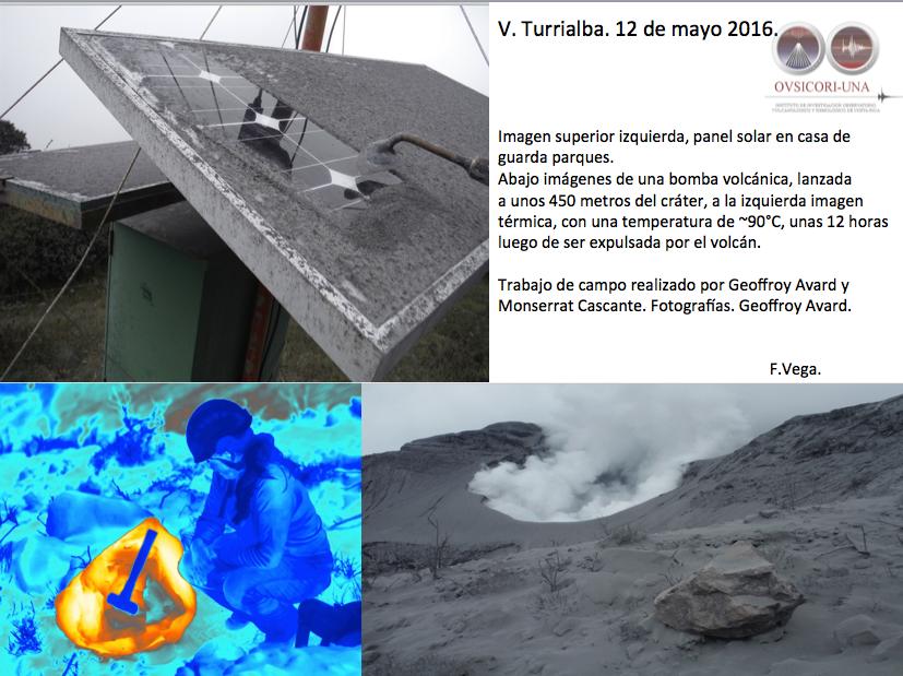 Turrialba - nettoyage des panneaux solaires et bombes chaude retrouvée à450 m  du cratère - photo F&#x3B;Vega / Ovsicori