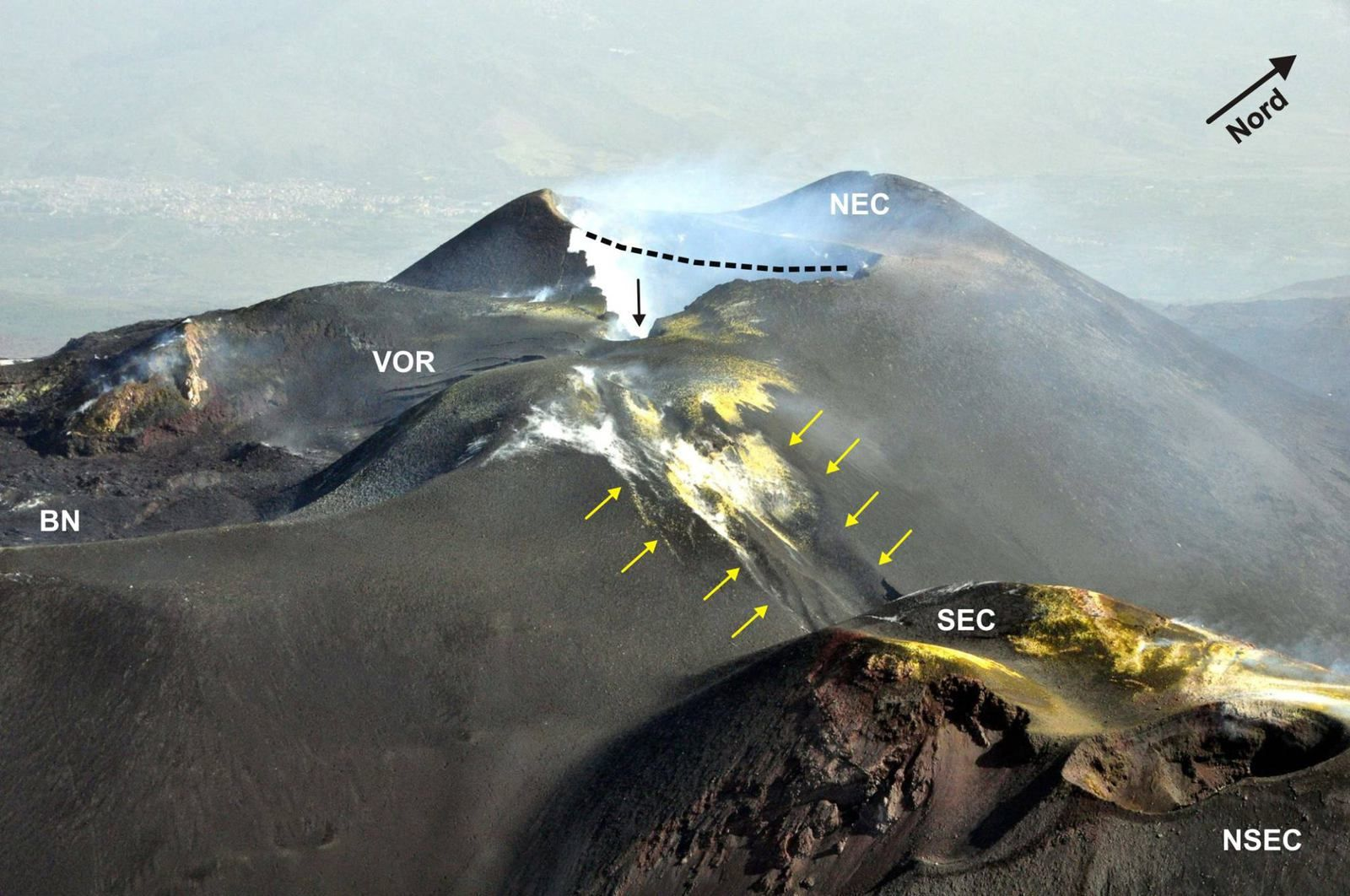 Etna région sommitale - changements morphologiques - photo et notes de Marco Néri