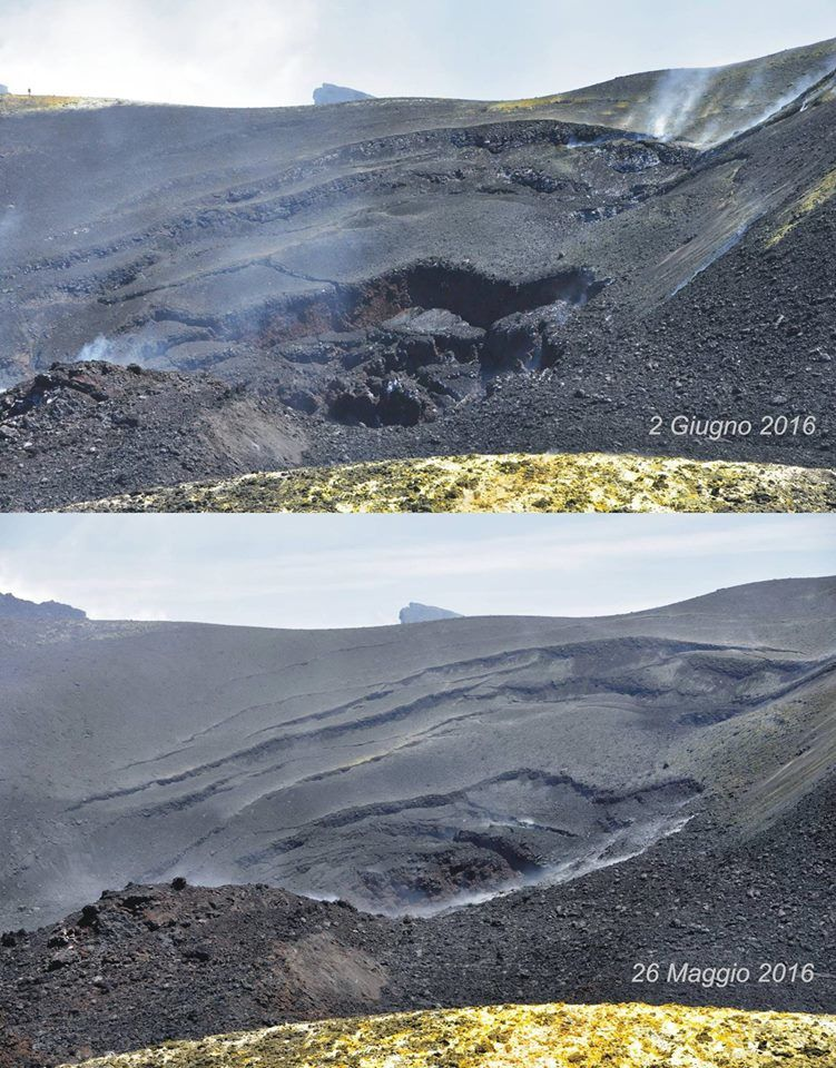 Etna Voragine - morphological differences between late May and 2 June - Marco Neri pictures via Facebook