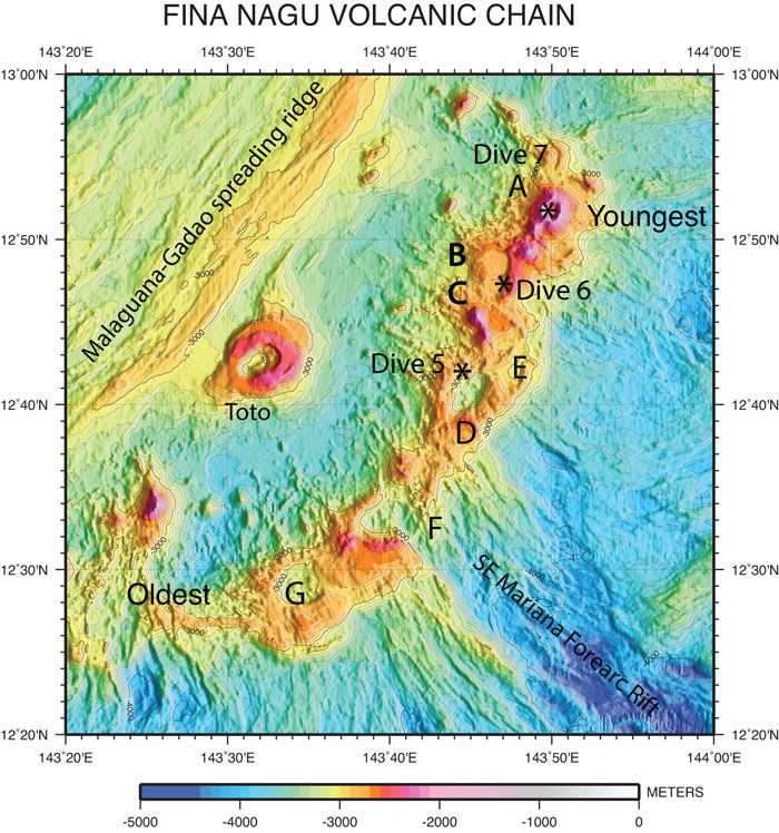 Volcanic Chain Fina Nagu and caldera Toto - Doc.courtesy of NOAA's Office of Ocean Exploration and Research, 2016 Deepwater Exploration of the Marianas.