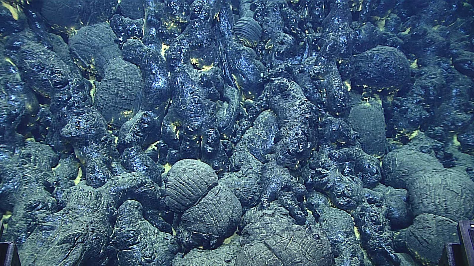 .Bassin d'arrière-arc des Mariannes - plongée 9 : pillow lava vitreuses - Image courtesy of NOAA Office of Ocean Exploration and Research, 2016 Deepwater Exploration of the Marianas.