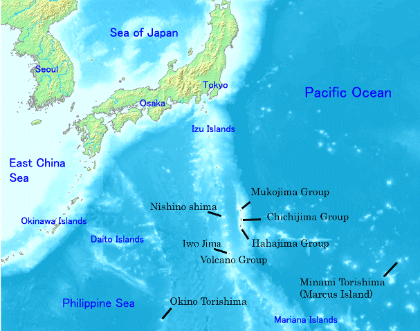 Nishinoshima situation map with Japan and the Ogasawara Islands