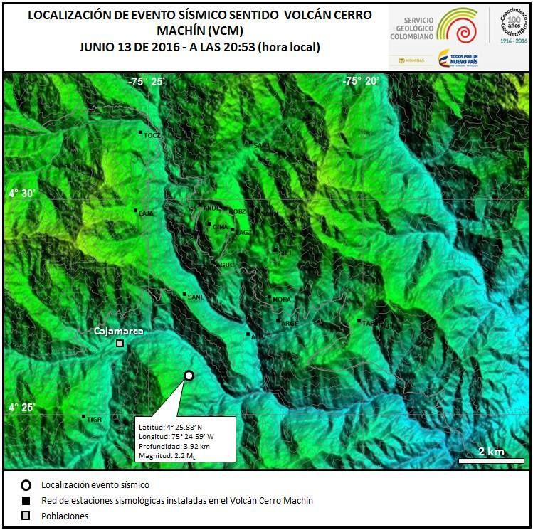 Localisation du séisme du 13.06.2016 au Cerro Machin - doc.SGC Manizales