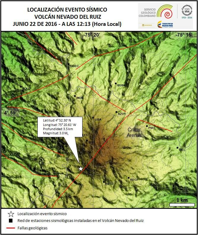 Nevado del Ruiz - location of volcano-tectonic earthquake 06/22/2016