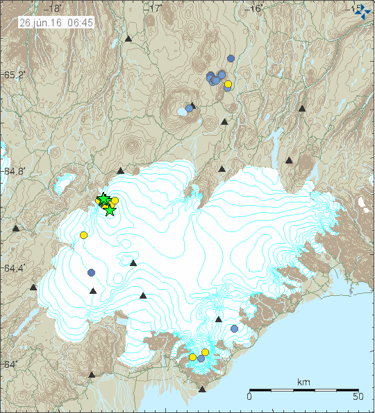Earthquakes under the Bárðarbunga on 25.06.2016 - doc. IMO