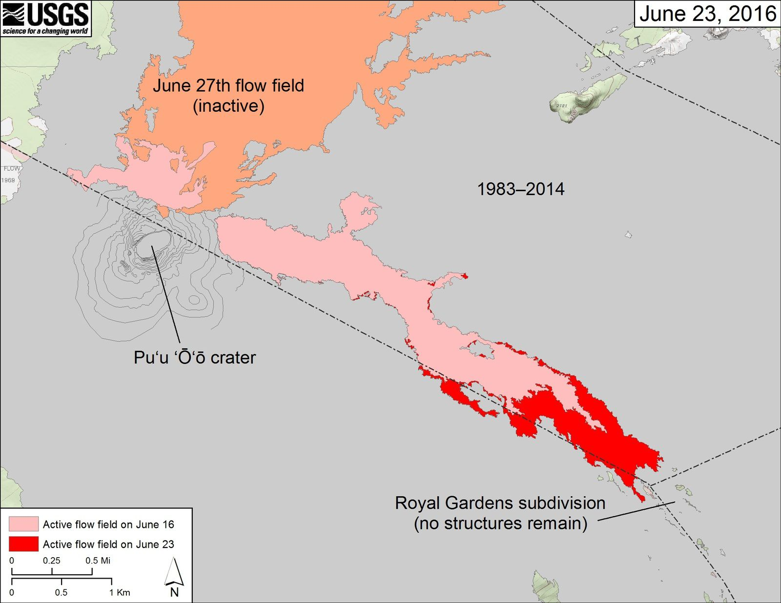 The areas covered by recent breakouts in the Pu'u O'o lava flows are in pink&#x3B; the advancement of active flows to June 23 is in red. (The area covered by the inactiveflow of June 27, 2014 is in orange, while the cast from before June 27, 2014 are in gray -. Doc HVO