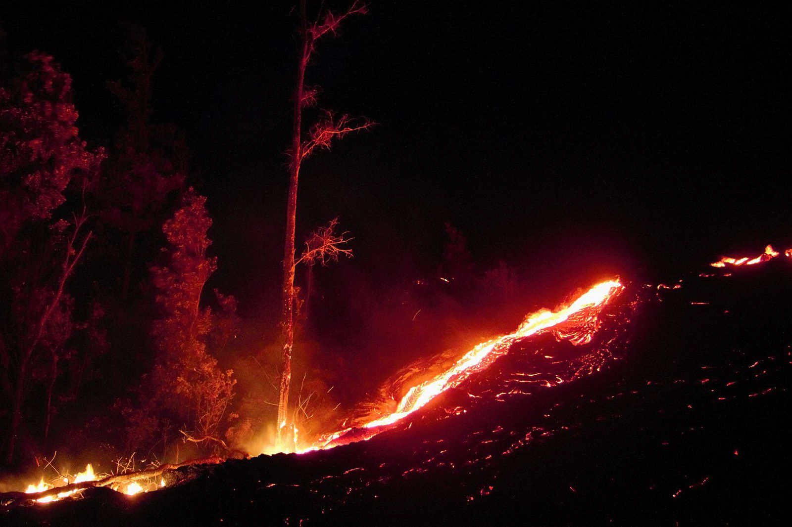 Pu'u O'o - lava flow of June 16 - Destruction of a kipuka by the lava flow - Photo Kawika Singson