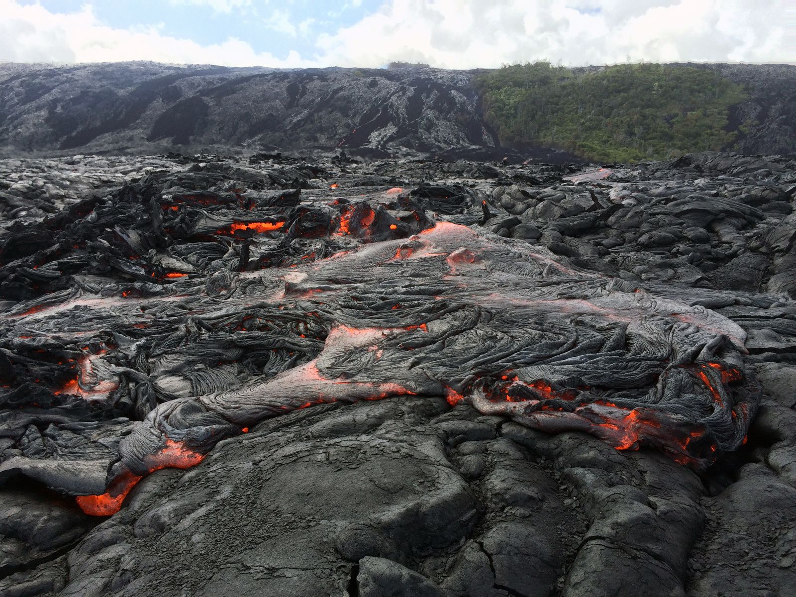 Hawaii - The flow front remains active and has begun crossing the coastal plain. This afternoon, the flow front was roughly 400 m (0.25 miles) out from the base of the pali, and was 2.9 km (1.8 miles) from the ocean. The front consisted of slabby pāhoehoe, though ʻaʻā was also active at the base of the pali. - photo HVo
