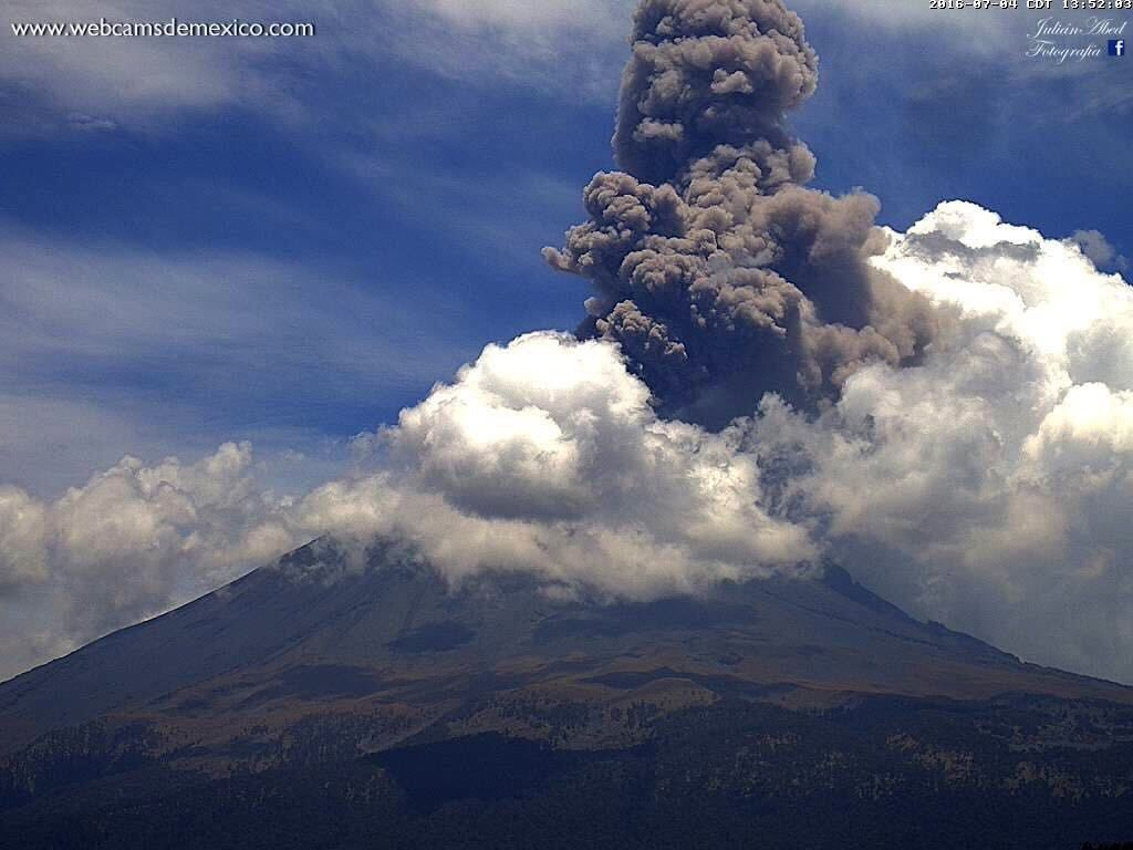 Popocatépetl, le 04.07.2016 / 13h52 - photo WebcamsdeMexico