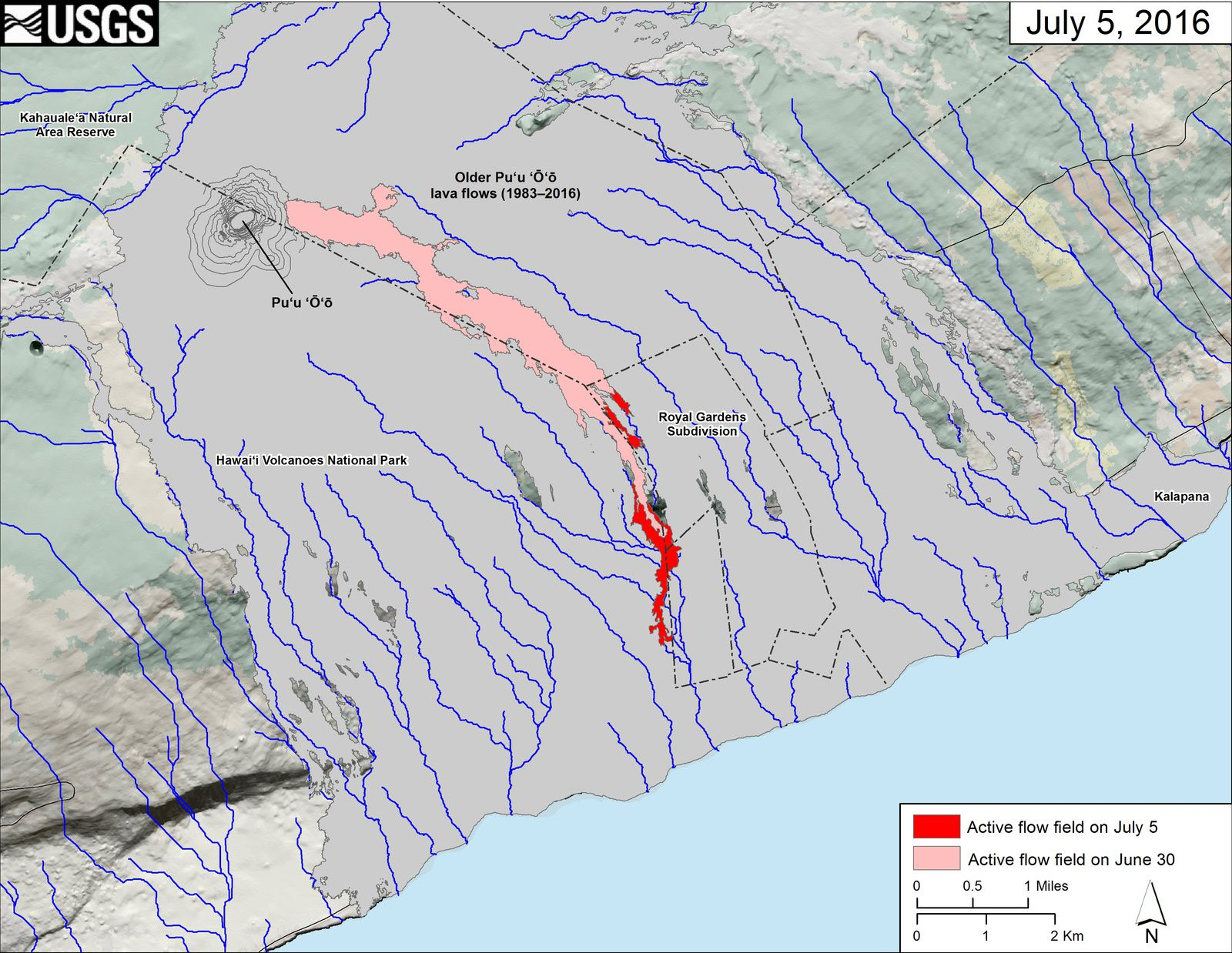 Pu'u O'o - Advanceof the 61g lava flow on the costal plain on 05.06.2016- HVO map