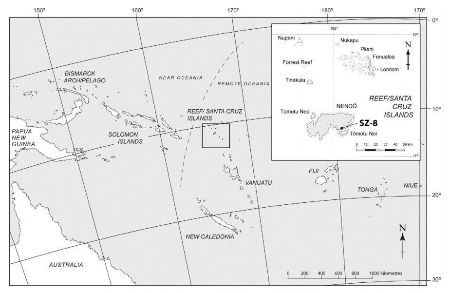 Localisation du site de Nanggu sur Nendo / Iles Santa Cruz / Salomon islands - doc. in Kononenko & al - Journal of Archeological Science