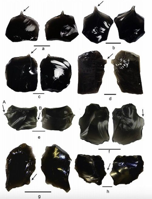 Obsidian artifacts found at the site of Nanggu / Solomon Islands - Doc. in Kononenko et al - Journal of Archeological Science