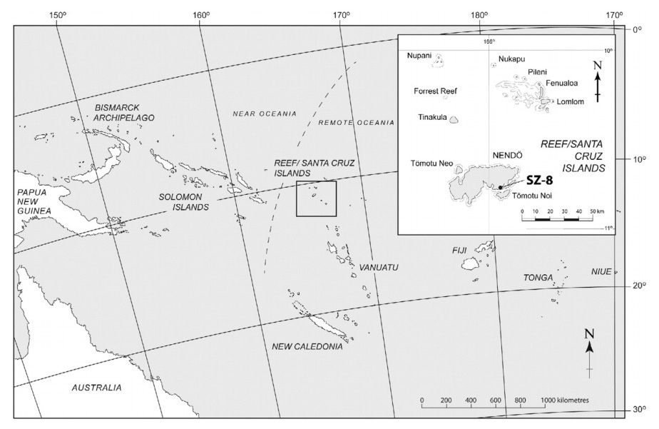 Nanggu site Location on Nendo Islands / Santa Cruz / Solomon islands - doc. in Kononenko et al - Journal of Archeological Science