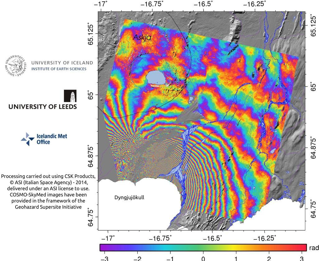 Interferogram of the area Holuhraun between 13 and 08.29.2014 - Doc.COSMO-SkyMed interferogram descending wrapped - A Icel. - A Leeds / IMO