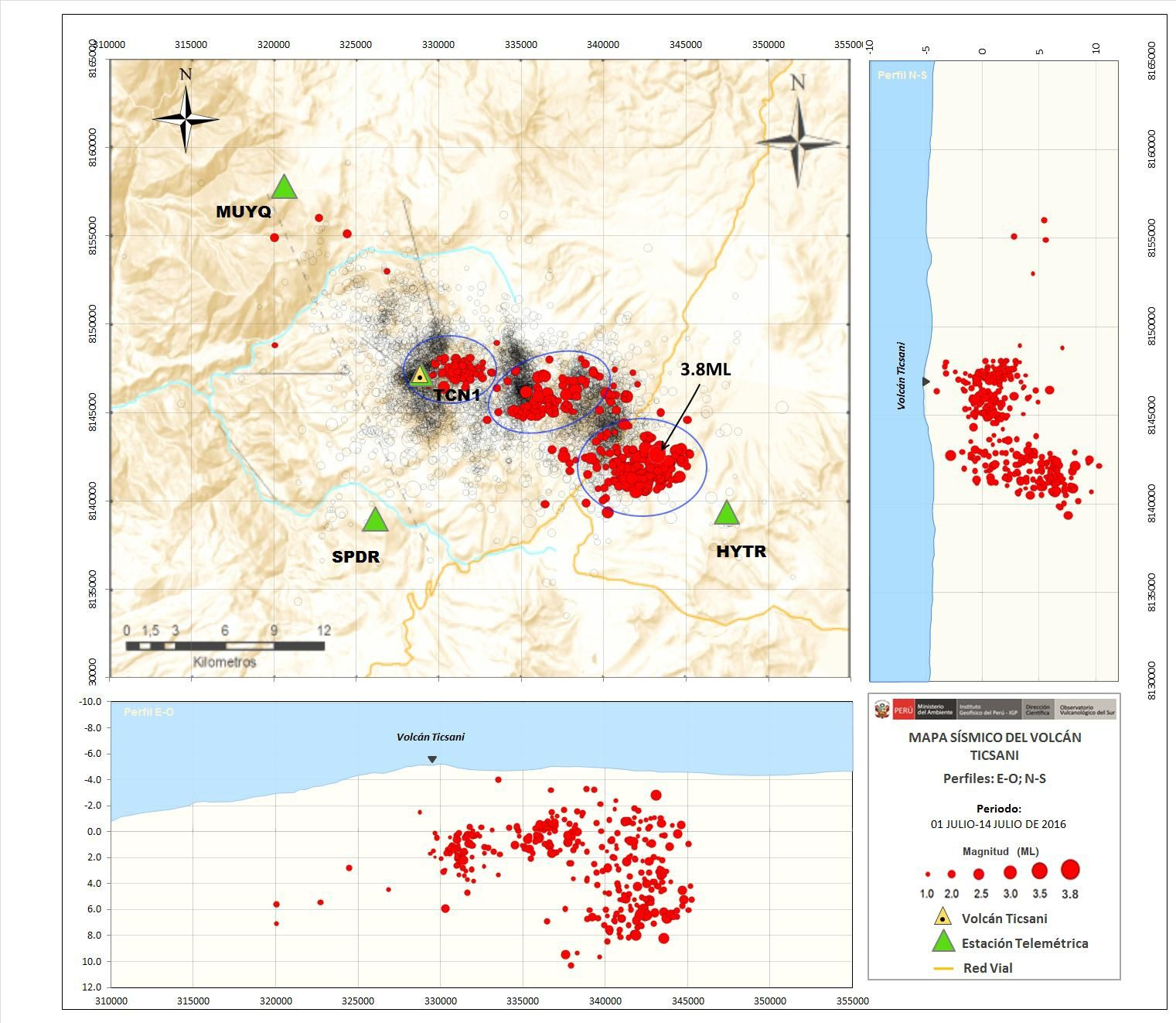 Map of the seismicity VT type of Ticsani - the red dots mark the location of earthquakes July 2016 - doc. IGP.