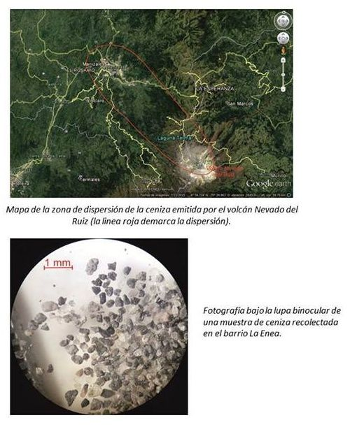 Nevado del Ruiz - dispersion zone of the ashes from volcano and view of these with a binocular - Doc. SGC Manizales